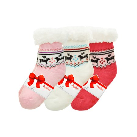 Kids Winter-Weight Sherpa-Lined Knitted Thermal Crew Socks (3-Pairs) ()