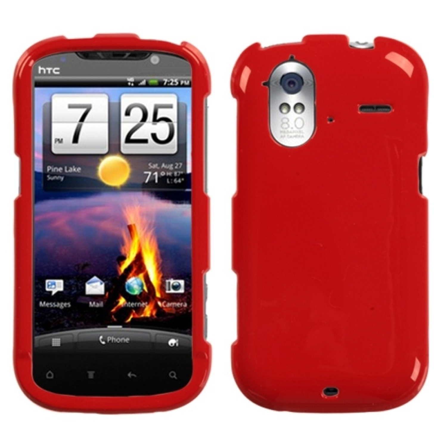 Insten Solid Flaming Red Phone Case for HTC: Amaze 4G