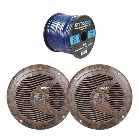 4x Pyle Marine 6 5'' Round Waterproof Full Range Camo Hunting Style  Speakers, 16-Gauge 50 Foot Tinned Speaker Wire
