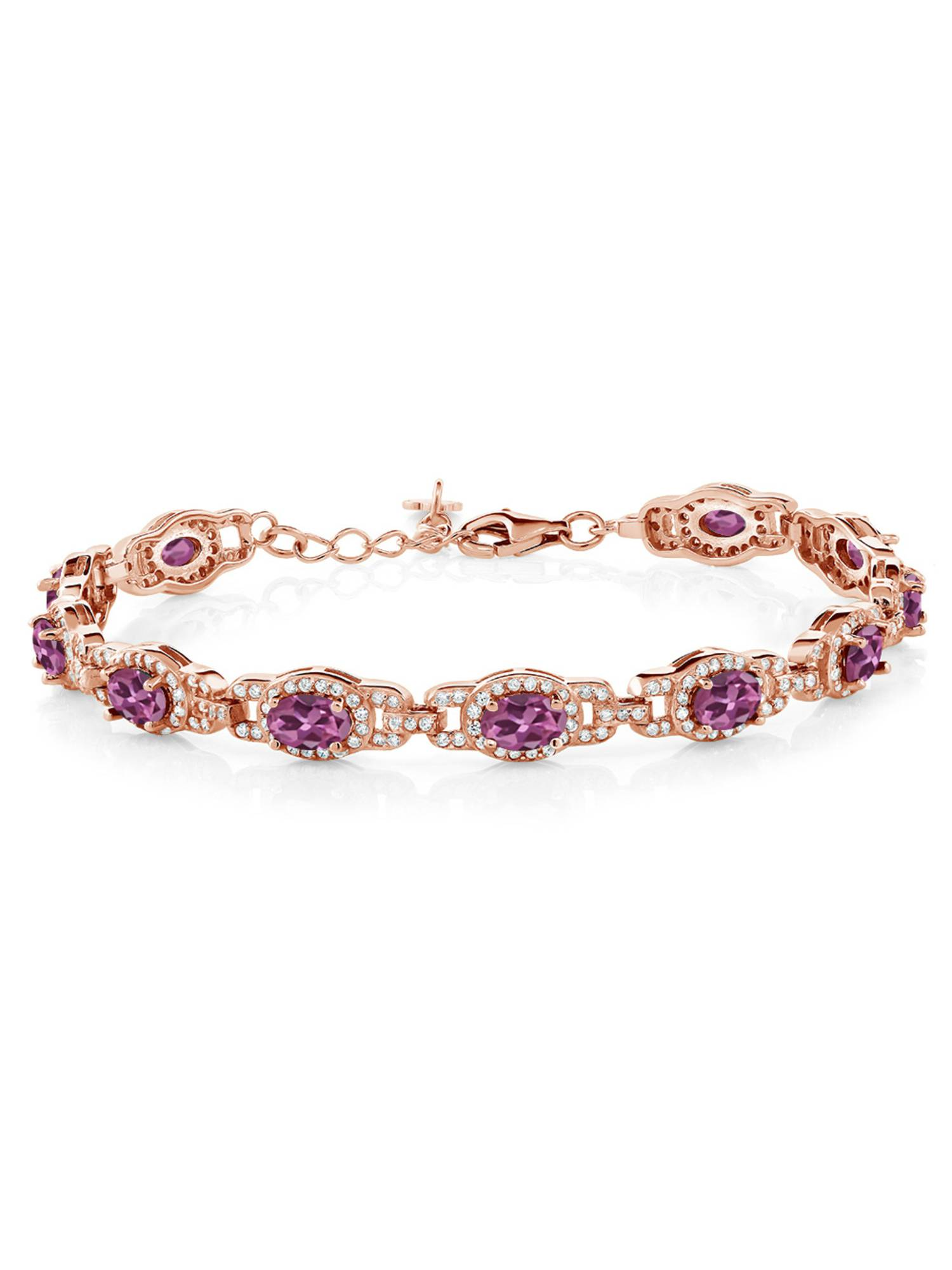 7.78 Ct Oval Pink Tourmaline AAA 18K Rose Gold Plated Silver Bracelet by