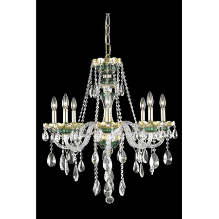 Green Crystal Chandelier - Chandeliers 8 Light With Clear Crystal Royal Cut Green size 26 in 480 Watts - World of Classic