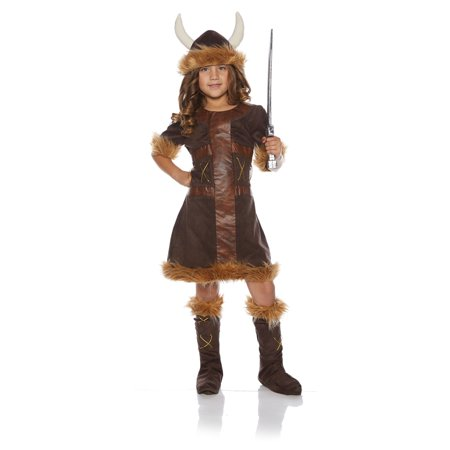 Viking Girl Child Barbarian Hunter Brown Halloween Costume](Viking Halloween Costumes Kids)