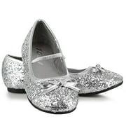 0 Inch Heel Ballet Slipper With Glitter Children's (Silver Glitter;X-Large) by ELLIE SHOES