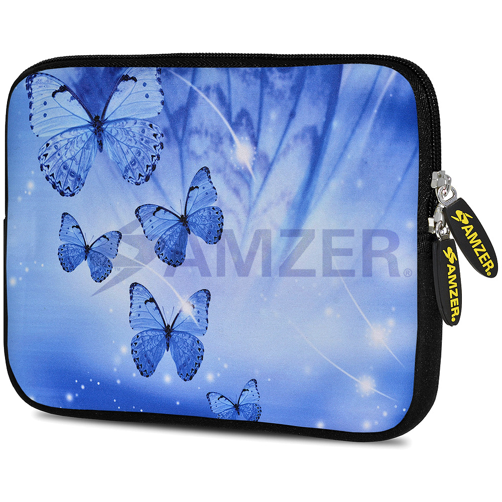 Designer Neoprene Tablet Case with Touch Screen Stylus, Universal Sleeve Pouch Cover for Apple iPad 2 3 4 iPad Air 1 2 iPad Pro 9.7 new iPad 9.7 (2017), Blue Sparkling Butterfly