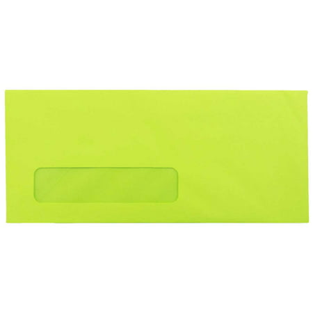 Paper Window Envelope (JAM Paper #10 Window Envelope, 4 1/8 x 9 1/2, Brite Hue Ultra Lime Green, 50/pack )