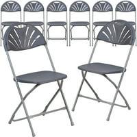 8 Pk. 650 lb. Capacity Black Plastic Fan Back Folding Chair