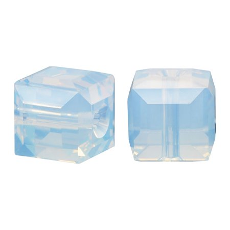 Swarovski Crystal, #5601 Cube Beads 6mm, 4 Pieces, White Opal (Swarovski Diagonal Cube)