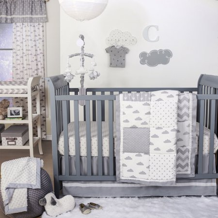 The Peanut Shell 3 Piece Baby Crib Bedding Set - Grey Cloud and Geometric Patchwork - 100% Cotton Quilt, Crib Skirt and Sheet