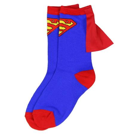 DC Comics Superhero Batman Superman The Flash Youth Boys Caped Crew Socks - Super Man Socks