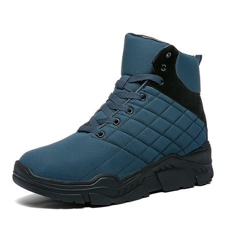 Mens Winter Snow Boots Fur Lined Warm Ankle Booties Waterproof Slip-on Sneakers Lightweight High Top Outdoor Shoes ()