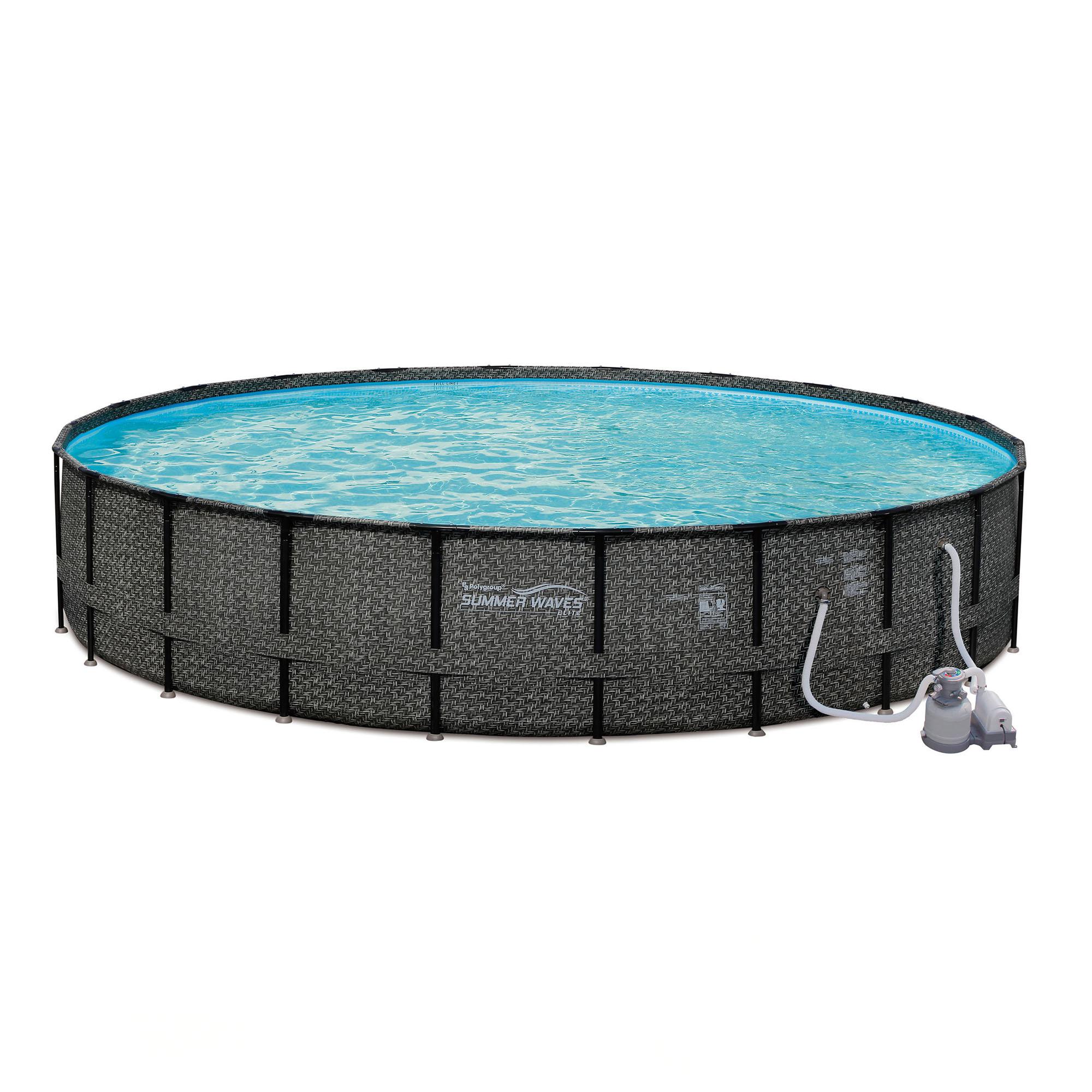 """Summer Waves Elite Wicker 24' x 52"""" Above Ground Frame Pool Set w/ Sand Pump"""
