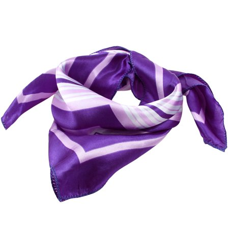 Unique Bargains Purple Brim White Stripe Pattern Polyester Kerchief Neckerchief for Woman