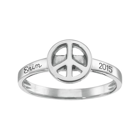 Personalized Family Jewelry Peace Sign Stacking Ring in Sterling Silver