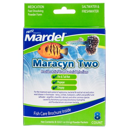 Mardel Maracyn Two Antibacterial Aquarium Medication - Powder 8 Pack - (8 x 0.021 oz Powder Packets)