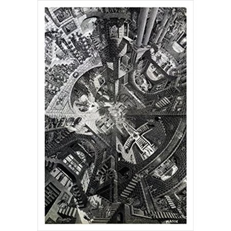 The Atrium by Tom Masse 32x22 Surreal Illustration Architecture Art Print Poster labyrinth of Hidden Images