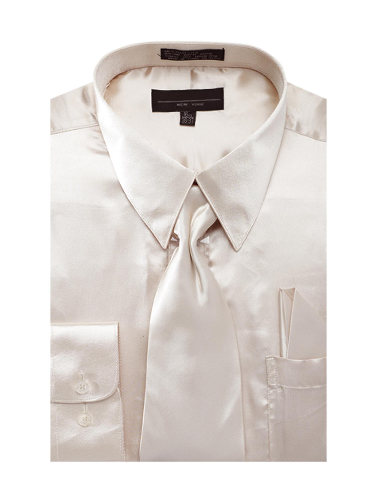 Men's Solid Color Satin Dress Shirt