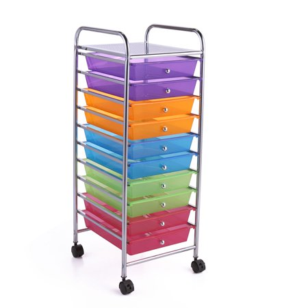 Jaxpety Rolling Storage Cart Unit Cabinet Multi-Bin School Home Office Organizer Assorted Colors Semi-transparent 10 Drawers