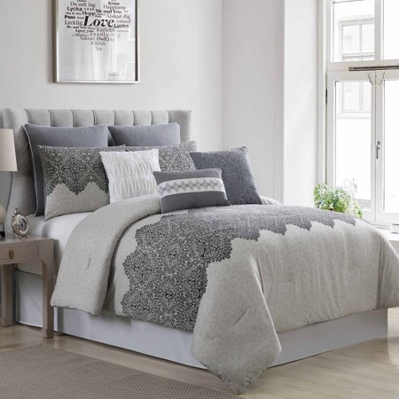 Pacific Coast Textiles Ravenna 8 Piece Embellished Comforter Set - (Pacific Coast European Comforter With Pyrenees Down)
