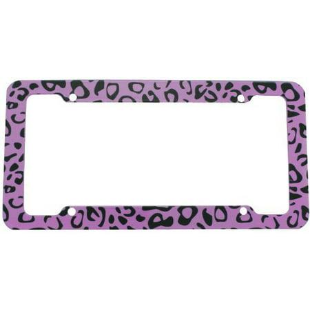 License Plate Frame - Car Truck SUV - Purple Leopard Animal Print (Anime License Plate)