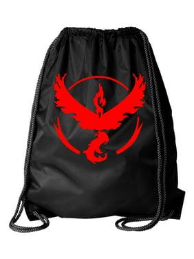 Pokemon Go Gym Team Valor Red Black Cinch Bag Drawstring Bag Backpack
