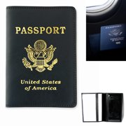 Marshal US Passport Real Genuine Leather Cover Case Holder Black Wallet Protects Travel