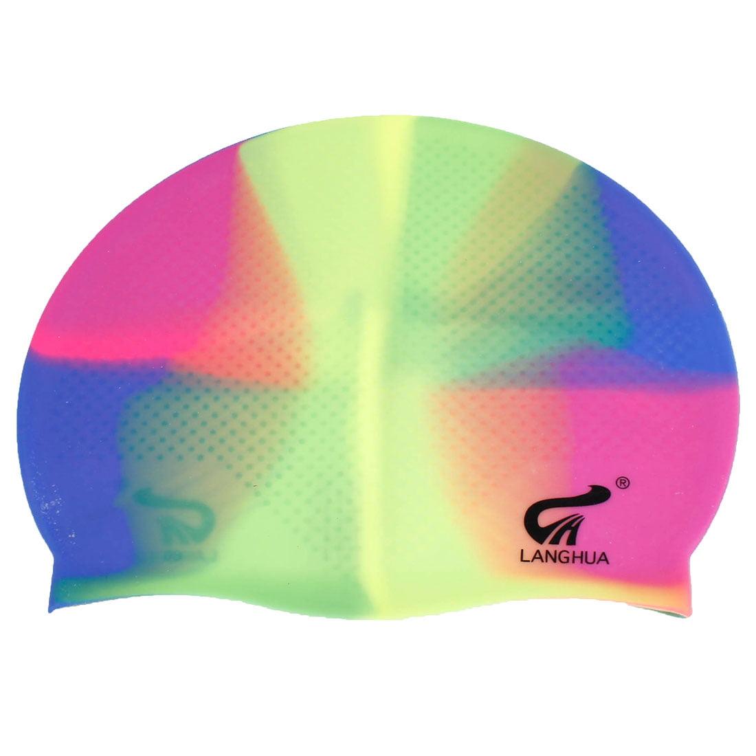 Unique Bargains Women Men Assorted Color Soft Silicone Elastic Swimming Hat Cap