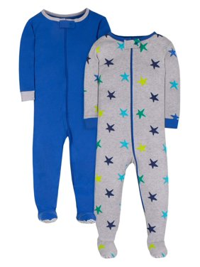 Little Star Organic Brights Baby & Toddler Boy 1-Piece Snug Fit Cotton Sleeper Pajamas, 2pk