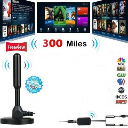 AngelCity Indoor 300 Mile Range 1080P Digital TV HDTV HD Antenna Amplifier (Antenna Tv Amplified)