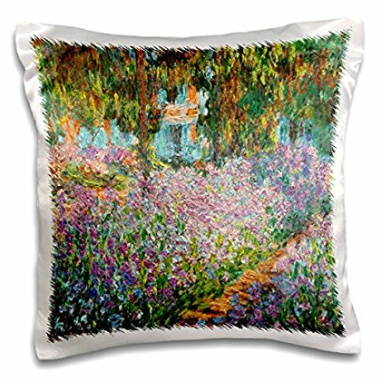 - 3dRose Print of Monet Painting Irises In Garden, Pillow Case, 16 by 16-inch