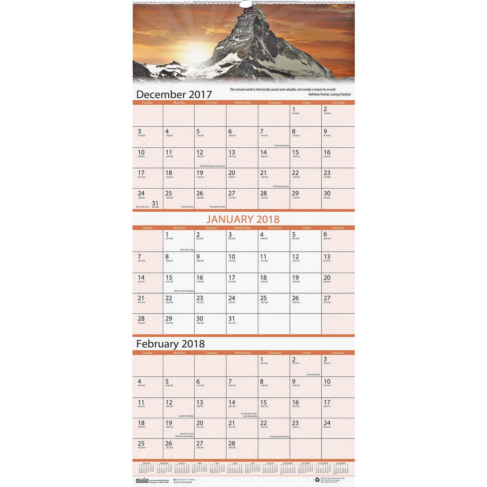 House of Doolittle, HOD3638, Earthscapes Scenic 3-mth Wall Calendar, 1 Each, White