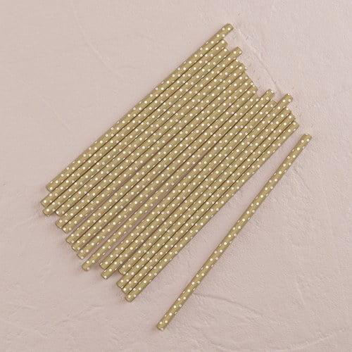 Metallic Silver Paper Straws with Small White Polka Dot