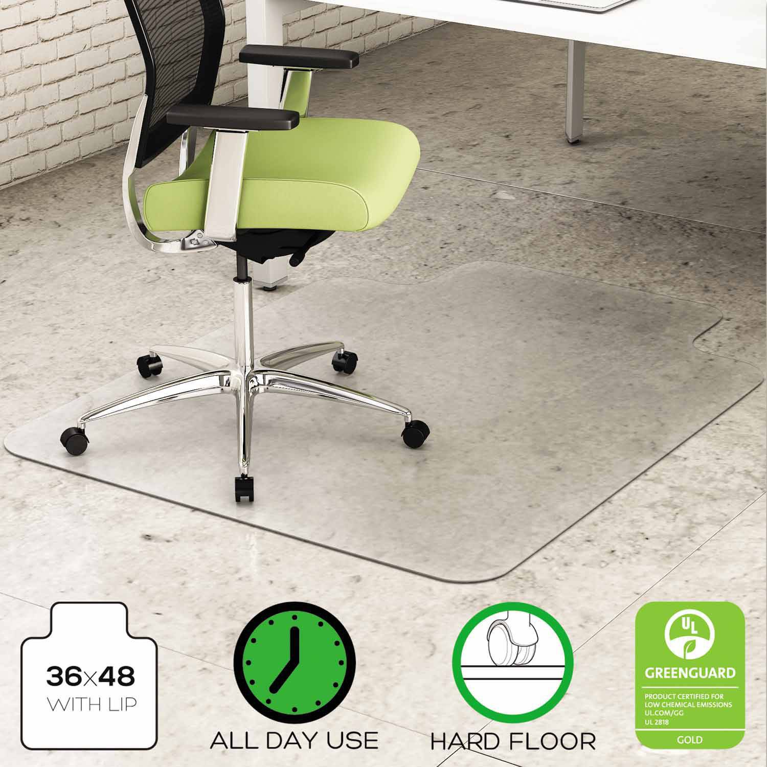 "deflecto EnvironMat Recycled Anytime Use Chair Mat for Hard Floor, 36"" x 48"" with Lip, Clear"