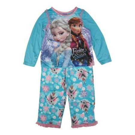 Disney Girls Sky Blue Frozen Elsa Anna Olaf Print 2 Pc Pajama Set 10