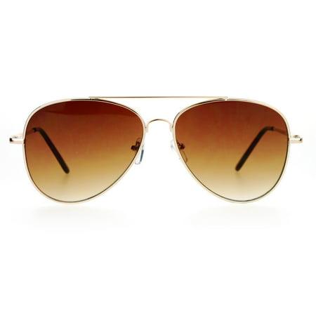 SA106 Mens Retro Ultra Flat Lens Metal Aviator Sunglasses Gold Brown (Aviator Flat Metal)