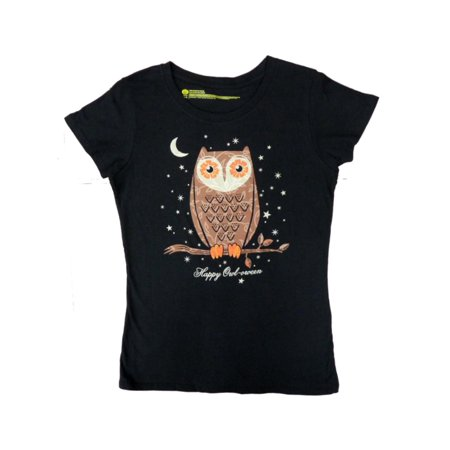 Happy Halloween Womens Black Happy Owl-oween T-Shirt Owl Tee Shirt Top (Happy Halloween Dachshund)