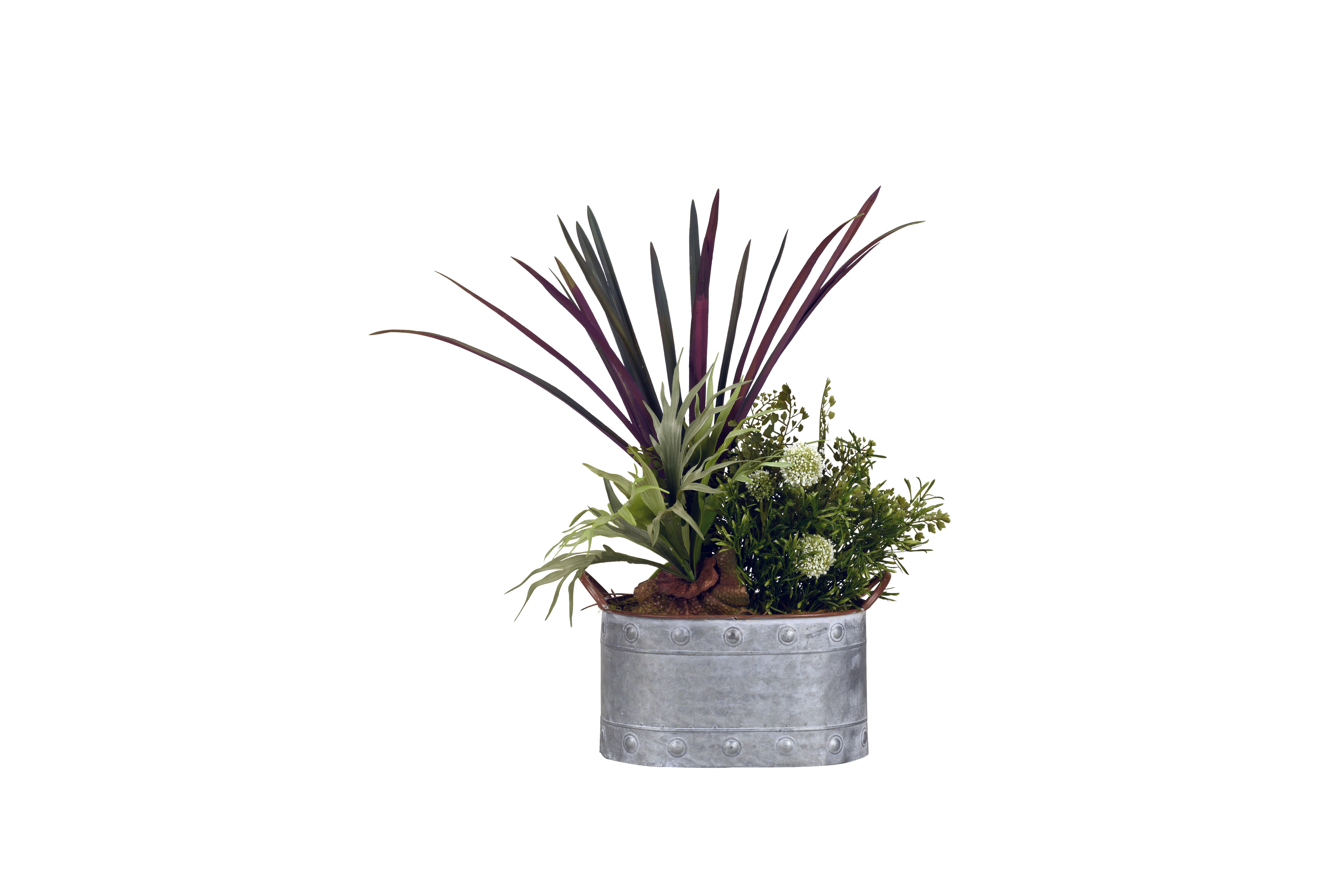 D W Silks Mini Staghorn Fern And Areca Grass In Oval Metal Planter Walmart Com Walmart Com
