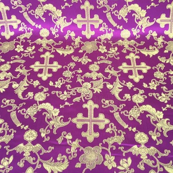 "Metallic Church Cross Brocade Fabric 60"" Wide 100% Polyester Sold By The Yard Many Colors (White / Silver)"