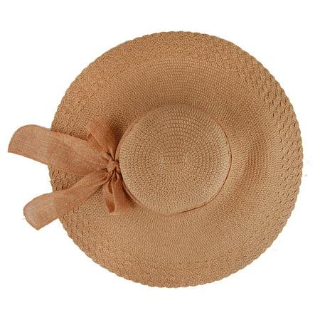 Women Wide Large Brim Floppy Hat Summer Beach Sun Hat Straw Hat Cap with Big - Straw Sun Hats
