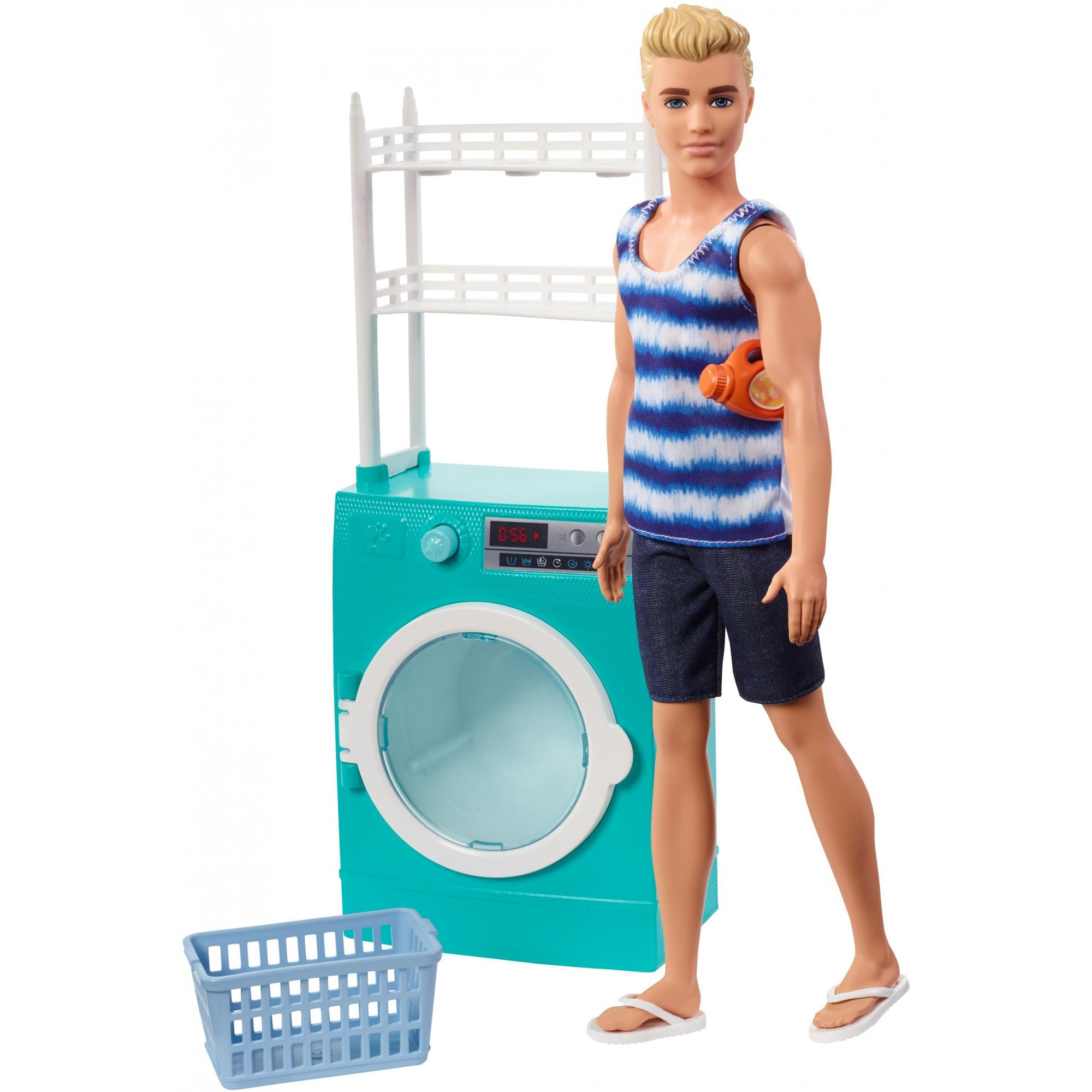 Barbie Ken Doll With Spinning Washer Dryer Laundry Themed