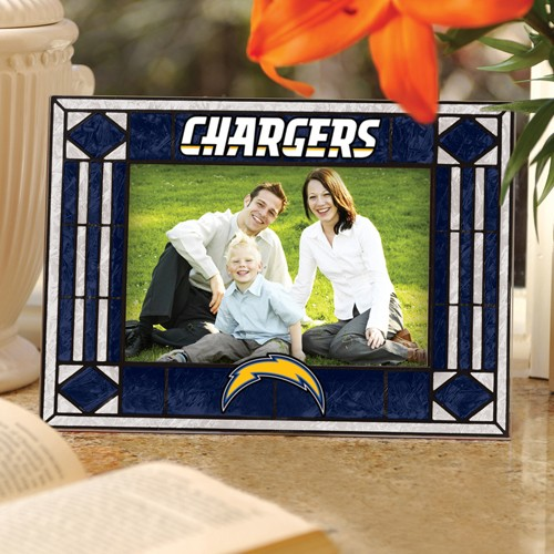 Los Angeles Chargers Navy Blue Art-Glass Horizontal Picture Frame - No Size