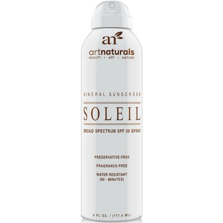 Art Naturals SPF 30 Broad Spectrum Sunscreen Spray 6 oz -Water Resistant 80 Minutes - With the best Natural & Organic Ingredients - For all Skin Types - Gentle enough for Children,Kids & (Best Sunscreen To Use Under Makeup)