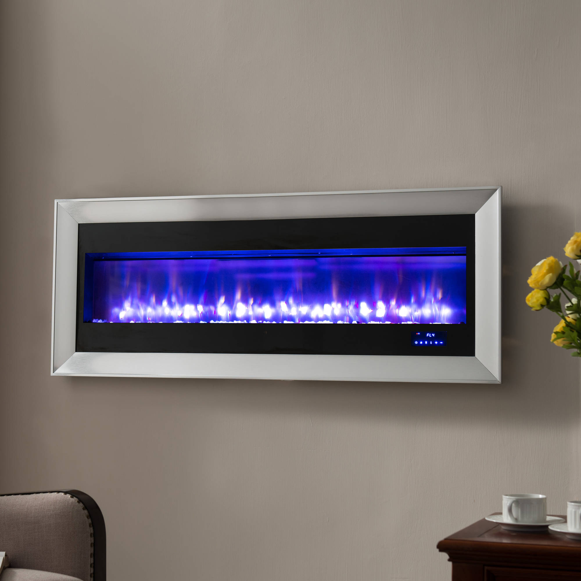 "Prokonian 63"" Wall Mounted Electric Fireplace with Space Heater SPB15029A, Pewter"