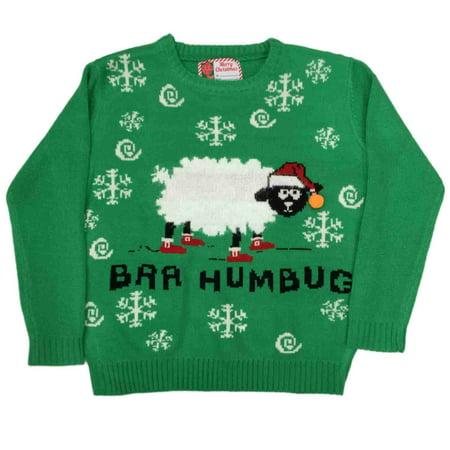 Womens Baa Humbug Knit Sweater Christmas Lamb Holiday Sheep Pullover L/XL (Bah Humbug Christmas Hat)
