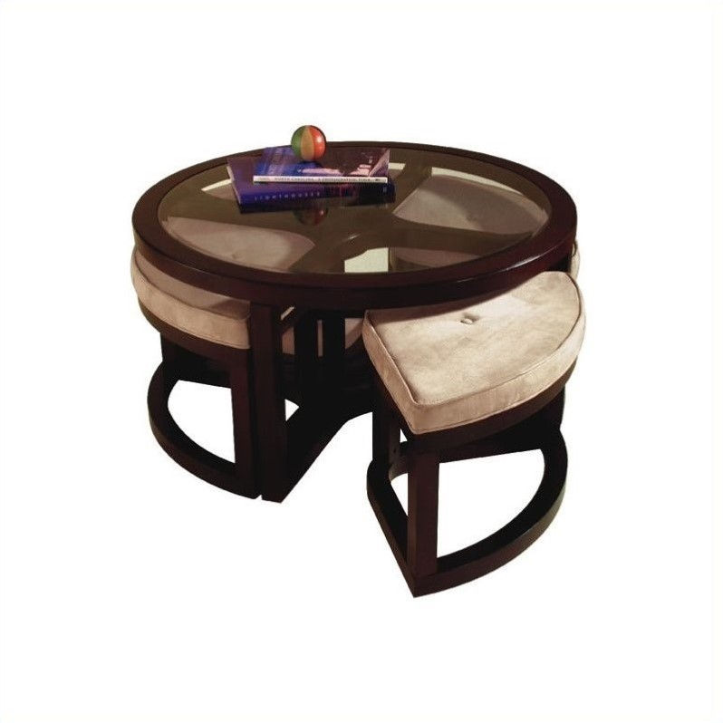 Magnussen Juniper Tables Round Glass, Adjustable Height Round Glass Top Coffee Table With 4 Storage Ottomans