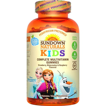Sundown naturals kids disney frozen complete multivitamin gummies, strawberry watermelon and raspberry, 180 ct