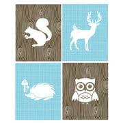 Rocket Bug 4 Piece Woodland Animals Paper Print Set