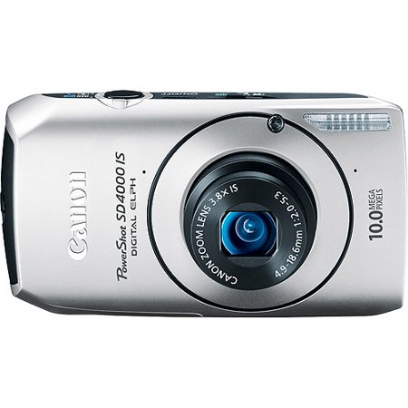 Canon PowerShot SD4000-IS Silver 10MP Digital ELPH Camera, 720P HD Video, 3.8x Optical Zoom, 3
