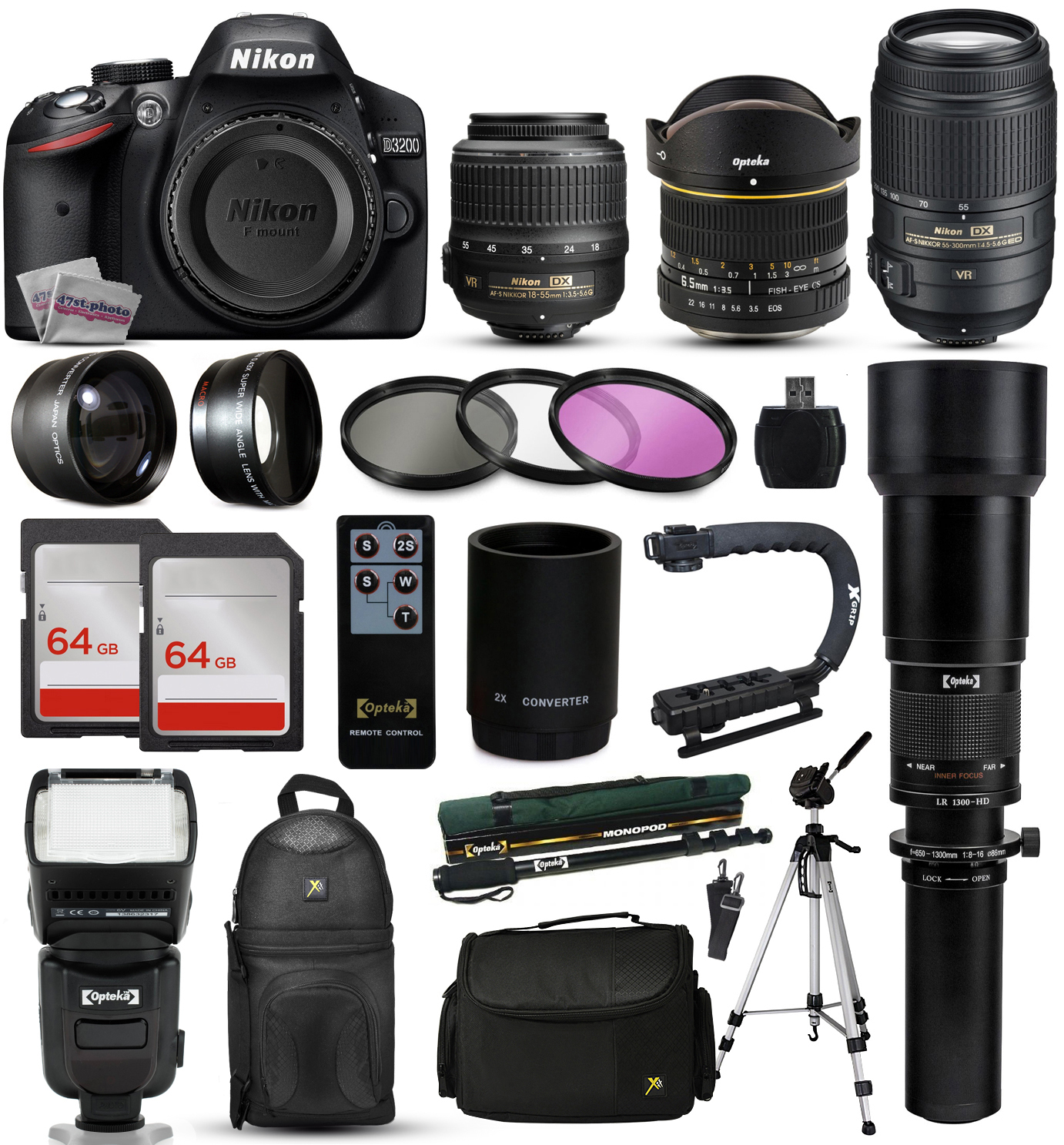 "Nikon D3200 DSLR Digital Camera + 18-55mm VR + 6.5mm Fisheye + 55-300mm VR + 650-2600mm Lens + Filters + 128GB Memory + Action Stabilizer + i-TTL Autofocus Flash + Backpack + Case + 70"" Tripod"