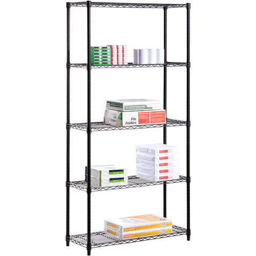 "Honey Can Do Urban Shelving 5-Tier Adjustable Storage Shelving Unit 59"", Black"
