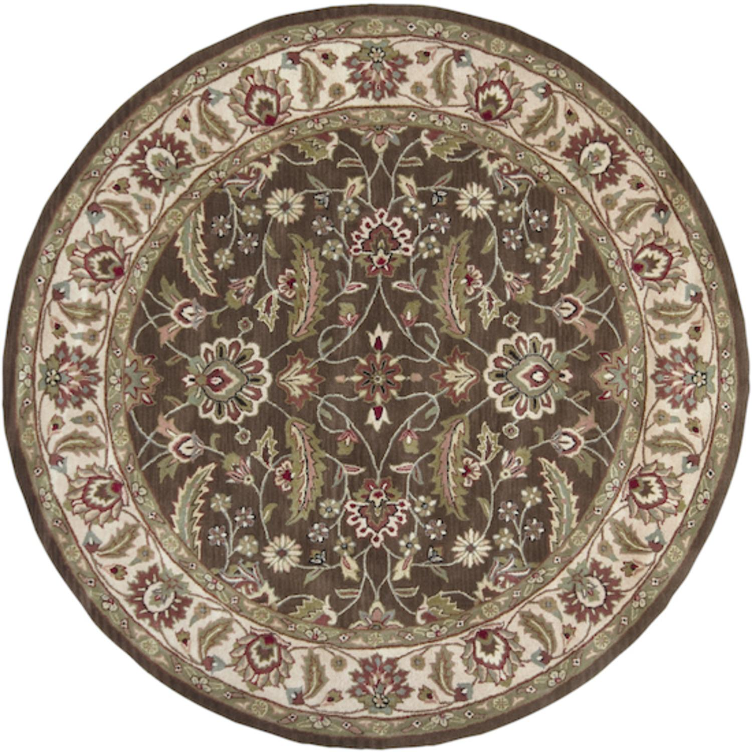 8' Tiberius Olive Green & Chocolate Brown Hand Tufted Round Wool Area Throw Rug